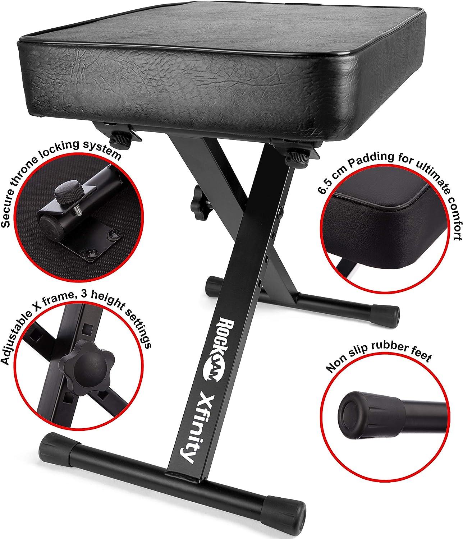 RockJam ajustable De alta teclado acolchado banco del piano heces