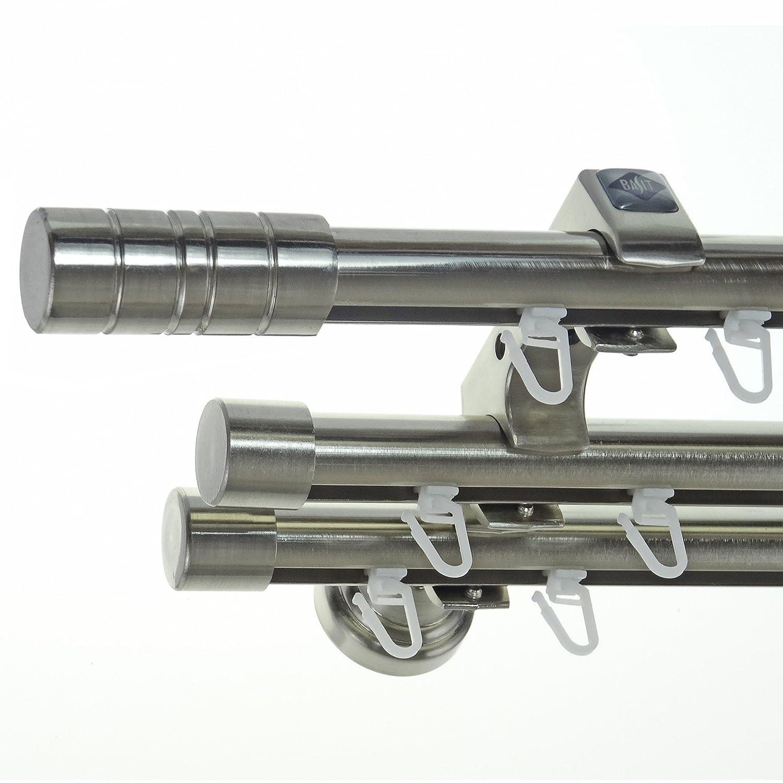 Innenlauf Edelstahl Look Gardinenstange 20mm Wandträger 3-läufig mit Zylinder H60 E34E30 II+ 1x B20I, Länge 360 cm