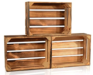 Bevorzugt CHICCIE 3 Set Geflammte Obstkisten - 38cm x 28cm Holzkisten AU33