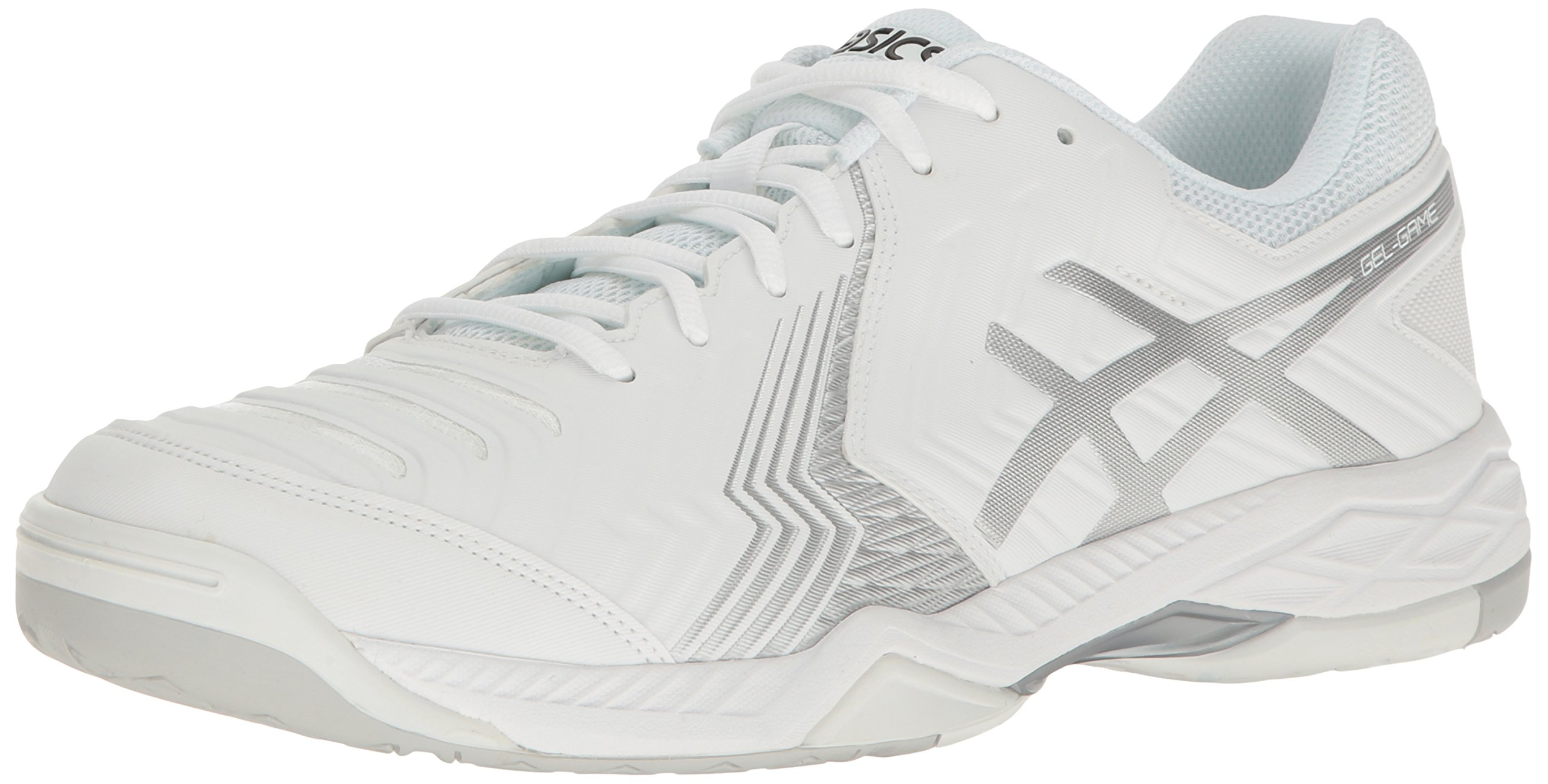 ASICS Men's Gel-Game 6 Tennis Shoe, White/Silver, 11 M US