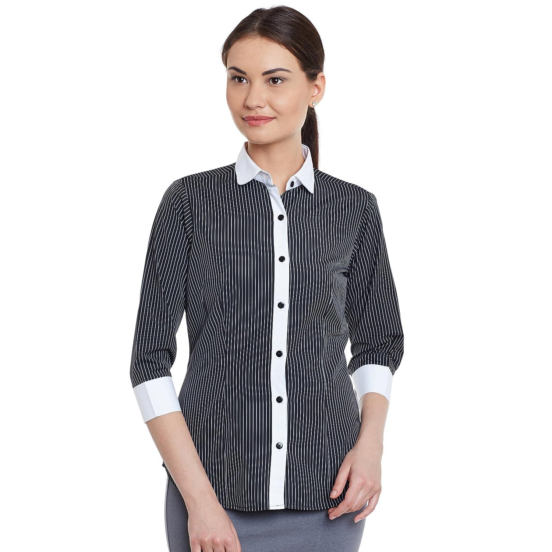 Dazzio Women Black Smart Casual Modern Fit Shirt Please Refer Size
