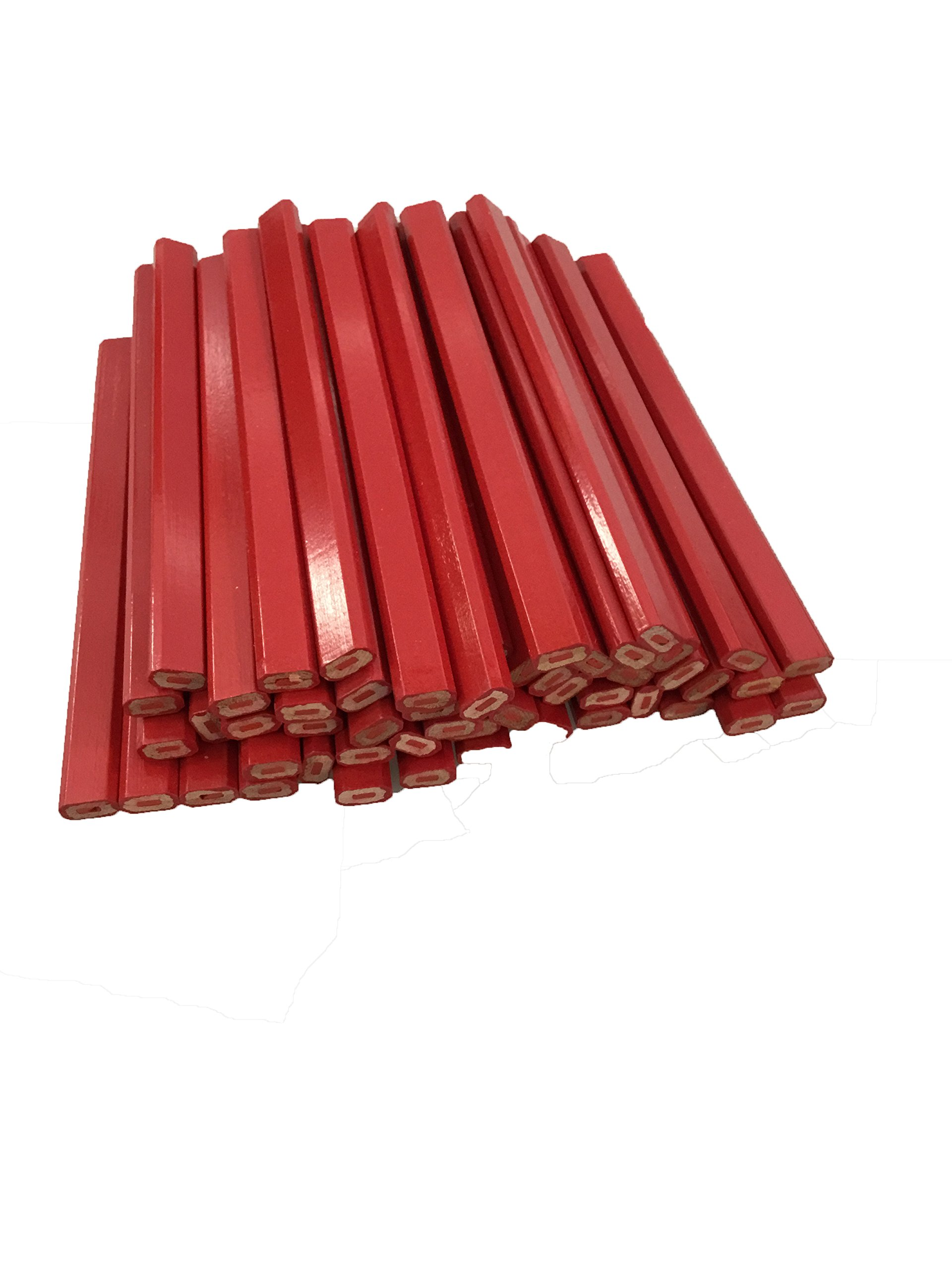 Flat Wooden Red With Red Lead Carpenter Pencils - 72 Count Bulk Box Made In The USA ...