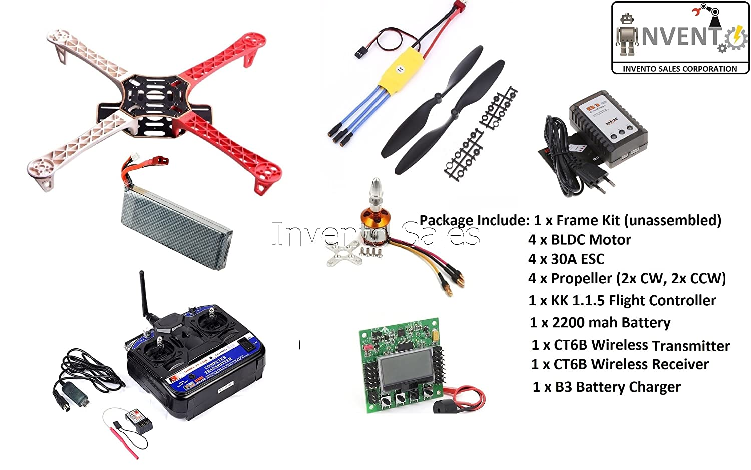 Invento Invnt 7 F450 Quadcopter Complete Diy Kit 1400kv Bldc Kk215 Orangerx Kk2 Wiring Diagram 30a Esc 1045 Propeller Unassembled Industrial Scientific