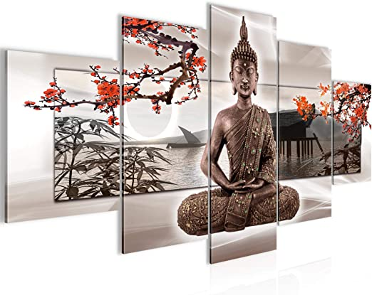 Bilder Buddha Feng Shui Wandbild Vlies - Leinwand Bild XXL Format  Wandbilder Wohnzimmer Wohnung Deko Kunstdrucke Rot 5 Teilig - MADE IN  GERMANY - ...