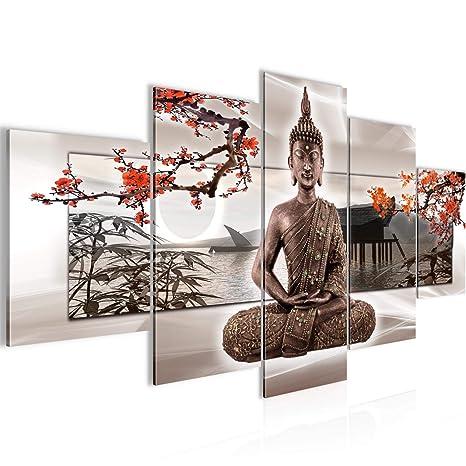 Bilder Buddha Feng Shui Wandbild 150 x 75 cm Vlies - Leinwand Bild XXL  Format Wandbilder Wohnzimmer Wohnung Deko Kunstdrucke Rot 5 Teilig - MADE  IN ...