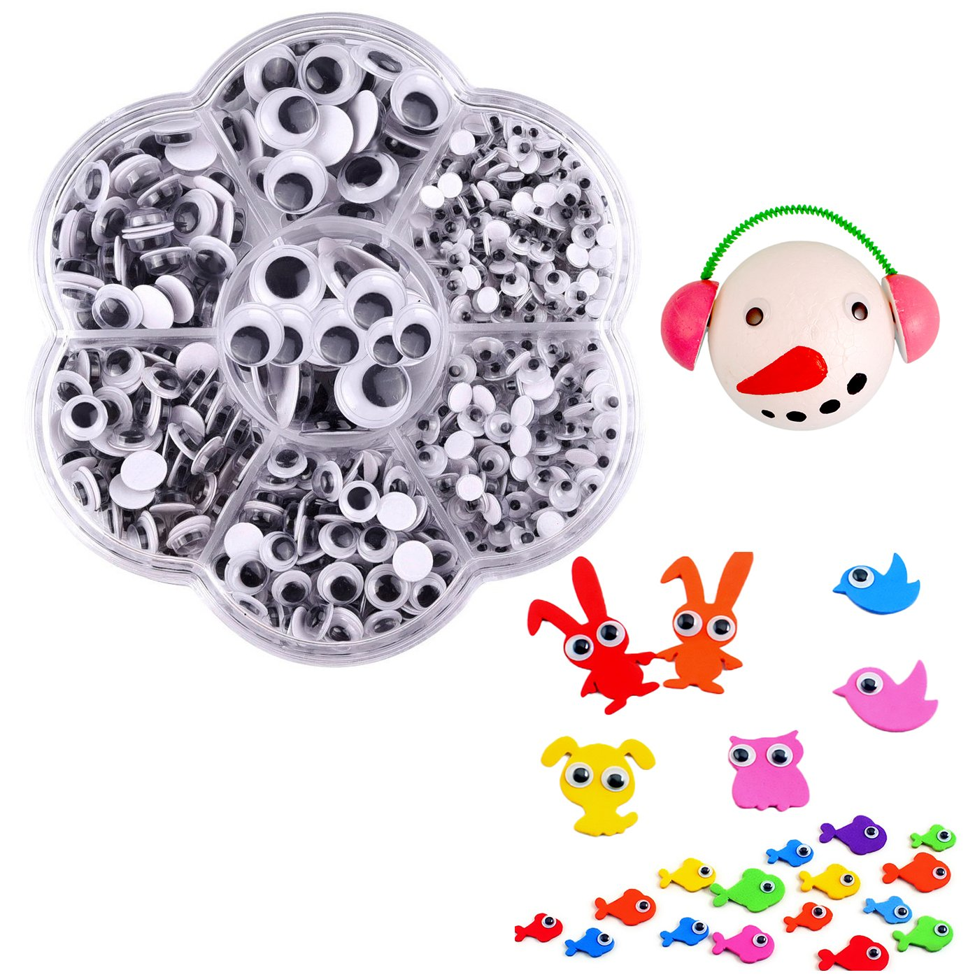 Cisixin 700 PCS DIY Plastic Self Adhesive Fake Round Wiggle Googly Doll Toy Eyes Scrapbooking Crafts Eye Accessories with Storage Box