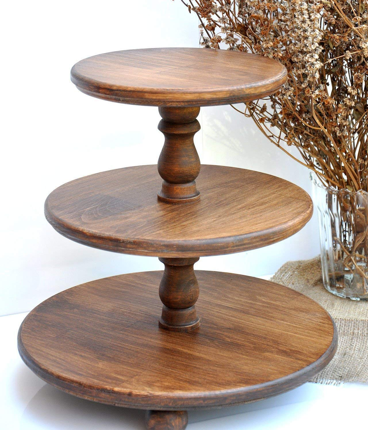 Amazoncom Demountable 3 Tier Wood Rustic Cake Stand For Wedding