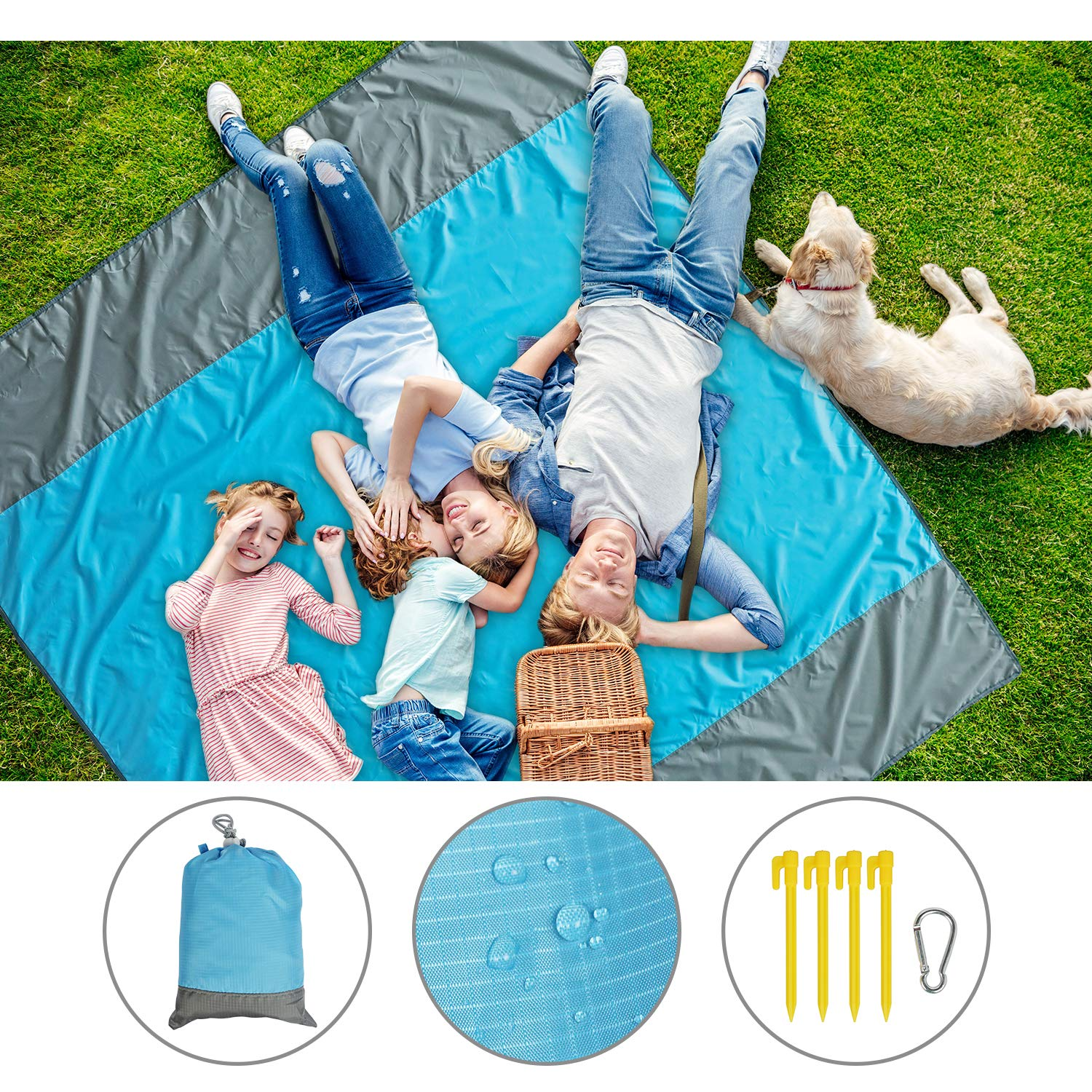 6.8X 6.4 Quick Drying Sand Free Beach Mat for Hiking Camping Picnics Travel and Beach Trips ALLking Large Sand Escape Beach Blanket