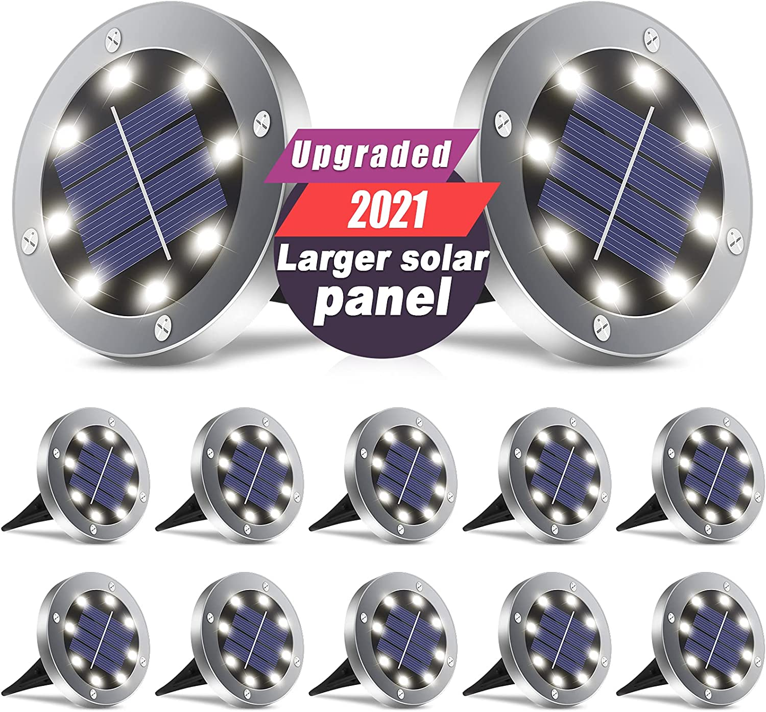 Solar Lights Outdoor, 2021 Upgraded Larger Solar Panel, 8 LED Solar Garden Lights Waterproof In-Ground Lighting for Landscape Patio Pathway Lawn Yard Walkway Warm White 12 Pack