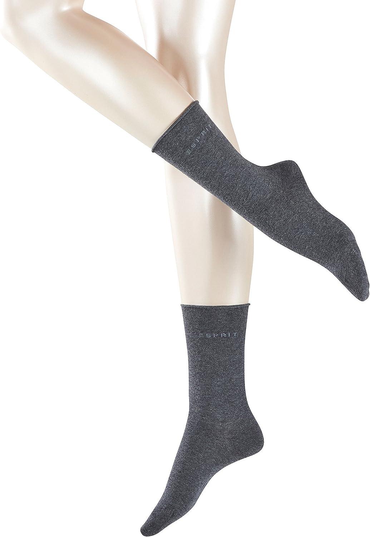 Esprit Womens Basic Pure 2 Pack Socks Light Grey