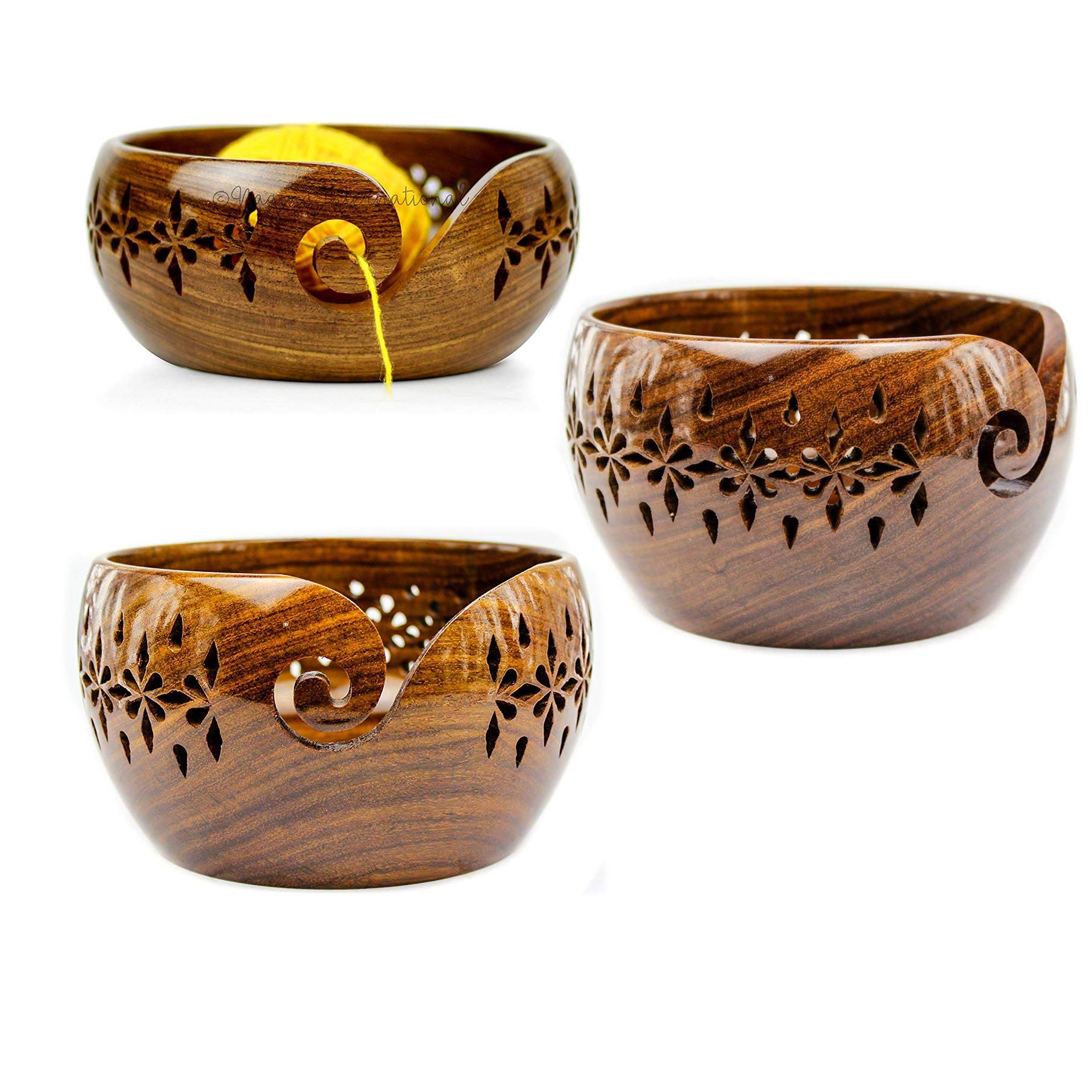 Rosewood Crafted Wooden Yarn Storage Bowl with Carved Holes & Drills | Knitting Crochet Accessories | Nagina International (Set)