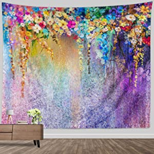 Watercolor Flower Tapestry Small,Purple Abstract Floral Tapestries Art Painting Wall Hanging Fabric Psychedelic for Home Decor Wall Art Blanket Colorful 52x60 inch