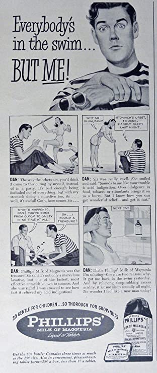 Phillips Milk of Magnesia, 40s Print Ad. B&W Illustration (Everybodys in the swim