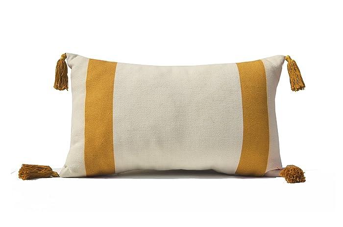 Amazon com: Gray Mustard Color Block Pillow Cover, Yellow