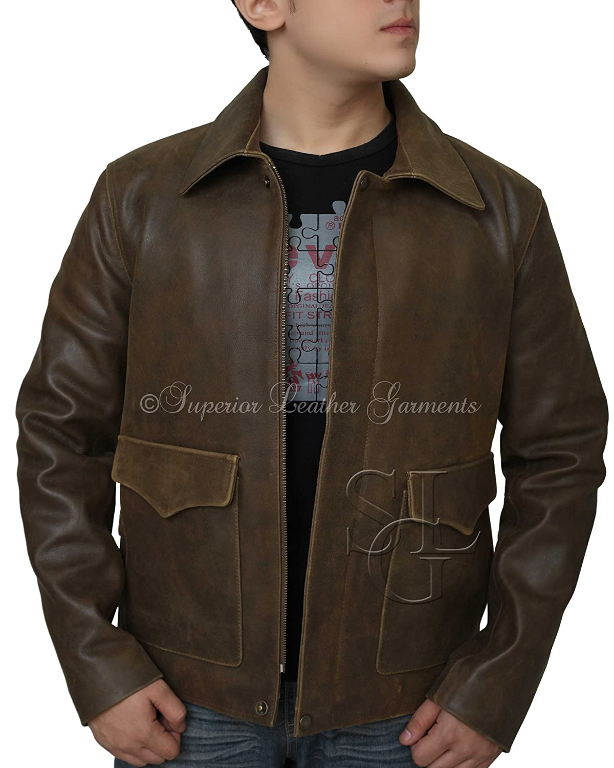 Men Jacket Indiana Jons Harrison Ford Classic Genuine Cow Hide Leather Jacket