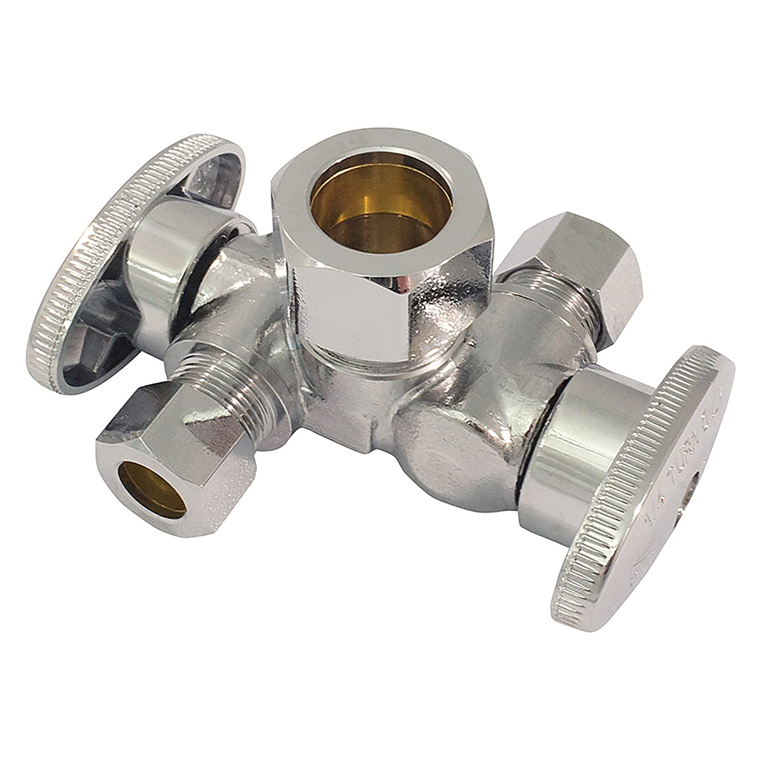 Apollo Valves AFDOSCOMP 1/2-inch x 3/8-inch Dual Outlet Stop Valve