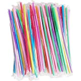 Hulless 200Pcs 10.3 Inch Colorful Flexible Drinking Straws,Individual Package Disposable Plastic Straws,Extra Long Flexible Party Fancy Straws.