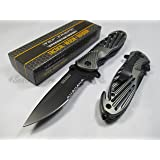 Tac-force Assisted Opening Sawback Bowie Rescue High Carbon Half Serrated Silver Stainless Steel Blade Knife - Gray