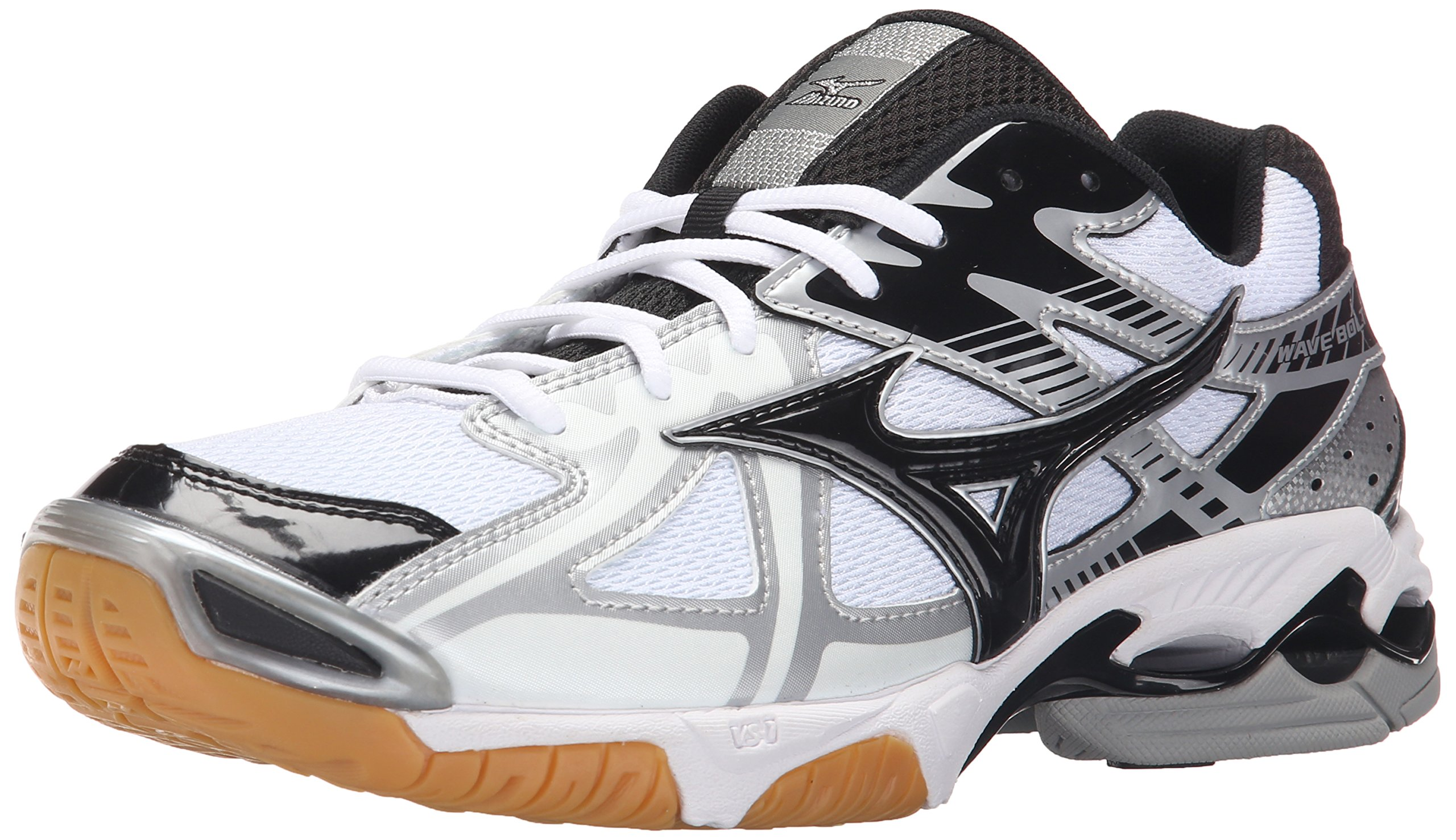 Mizuno Men's Wave Bolt 4 Wh-Bk Volleyball Shoes, White/Black, 15 D US by Mizuno
