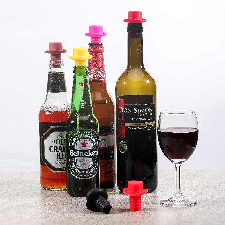 Kayaso Lot de 6 bouchons de bouchon en silicone avec vis en li/ège pour sceller et pr/éserver votre vin pr/éf/ér/é