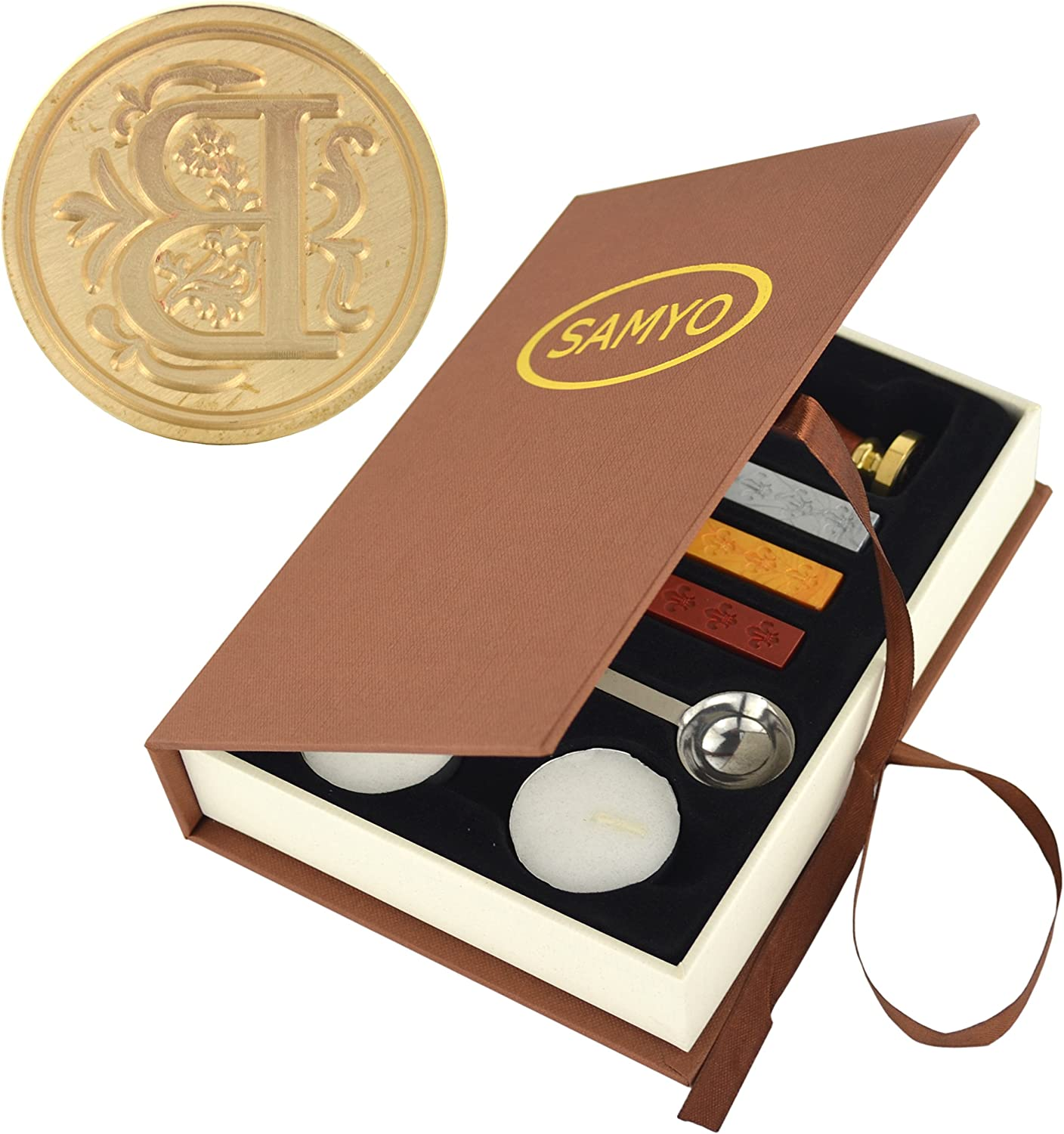 Prosperveil Wax Seal Stamp Kit Vintage Merry Christmas Tree Snowflake Sealing Wax Stamp Beads Spoon Candles Gift Box Set for Christmas Party Invitation Card DIY Craft Letter Envelope