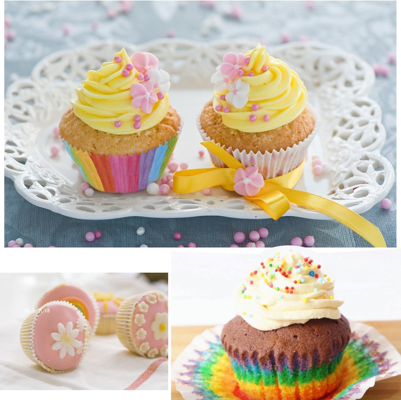 moldes para magdalenas rosa 7 cm Moldes para cupcakes moldes de papel para hornear TsunNee