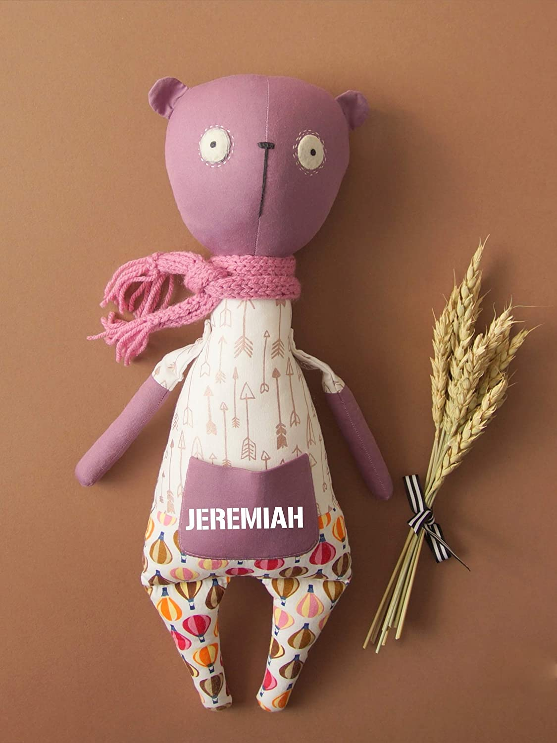 Valentines Day Gift Baby shower Personalised purple with balloon memory rag bear Stuffed primitive toy Woodland animal Soft keepsake gift Birthday Easter