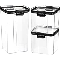 Sistema Tritan Airtight Pantry & Kitchen Storage Containers | 3 Square Plastic Food Containers with Lids (1x 1.3L + 2X…