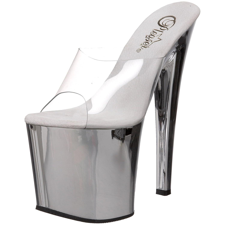 Pleaser Women's Tab00-701SCH Platform Sandal B00193XK18 11 B(M) US|Clear/Silver Chrome