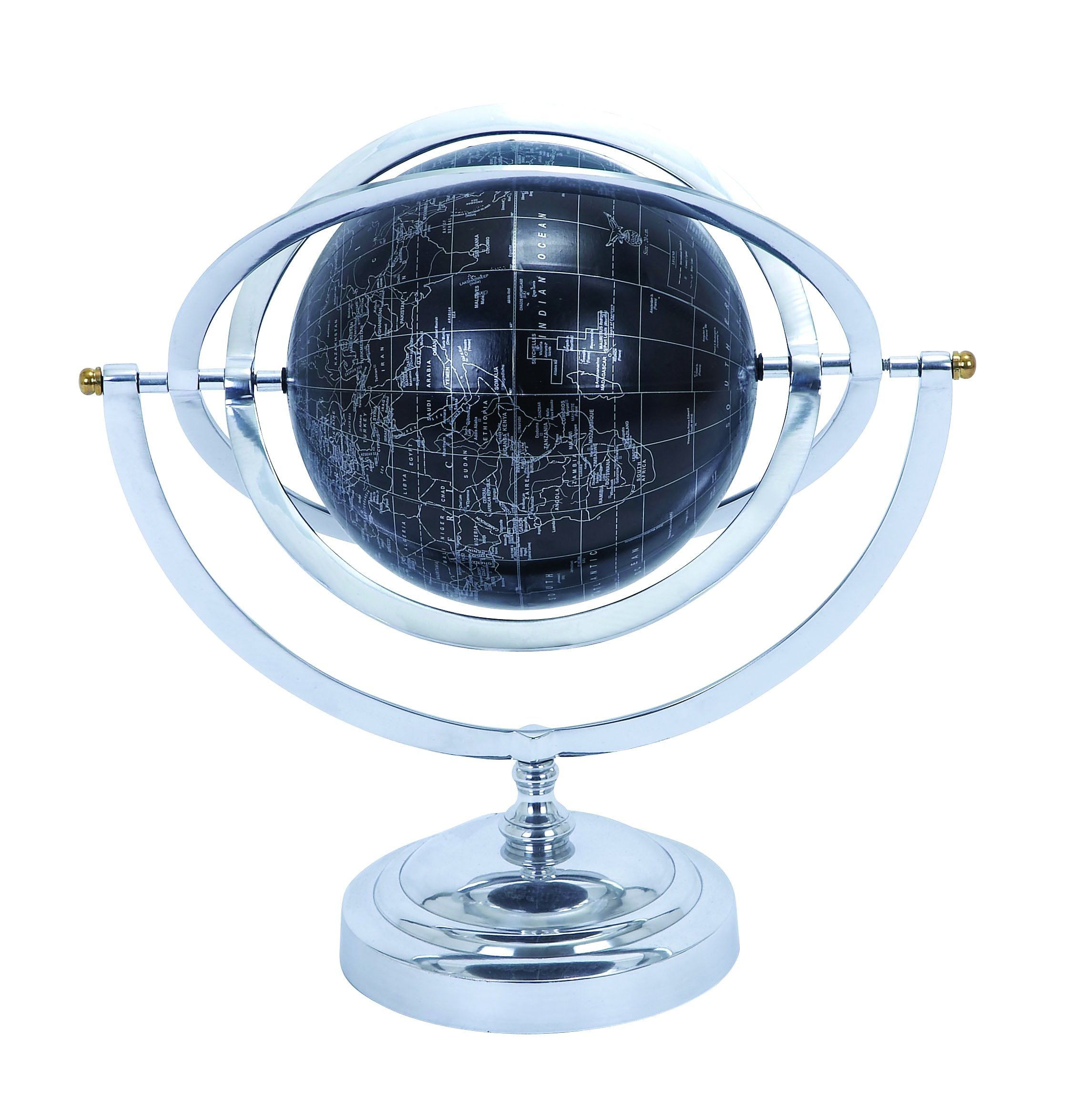 Deco 79 Metal Globe with White Mapping on Matte Black Background