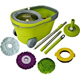 Green Direct Spin Mop System Deluxe Bucket Cleaning System Microfiber Replacement Head Twist Spinning Wringer Easy Rolling Cleaning