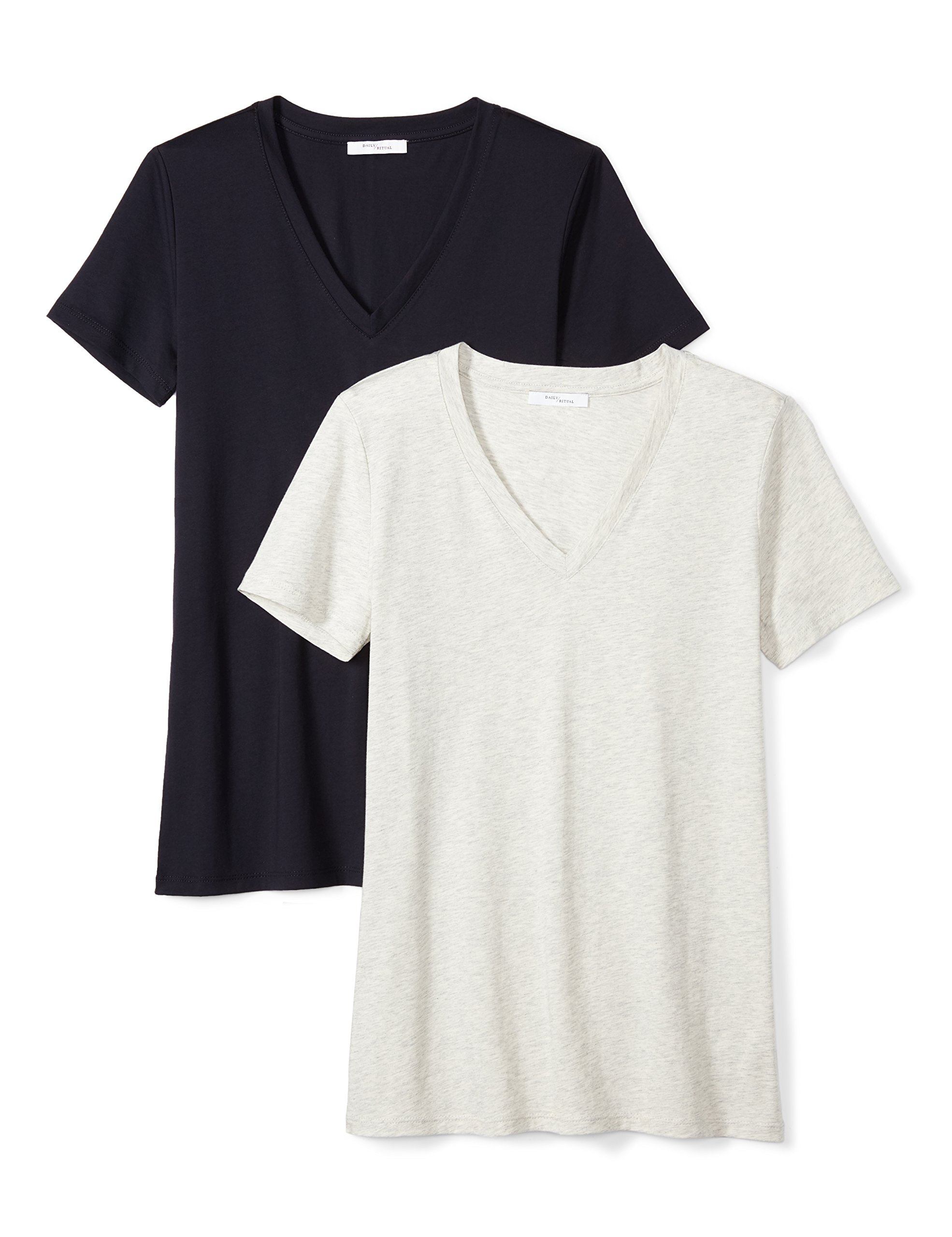 Daily Ritual Women's Lightweight 100% Supima Cotton Short-Sleeve V-Neck T-Shirt, 2-Pack, XXL, Navy/Heather Grey