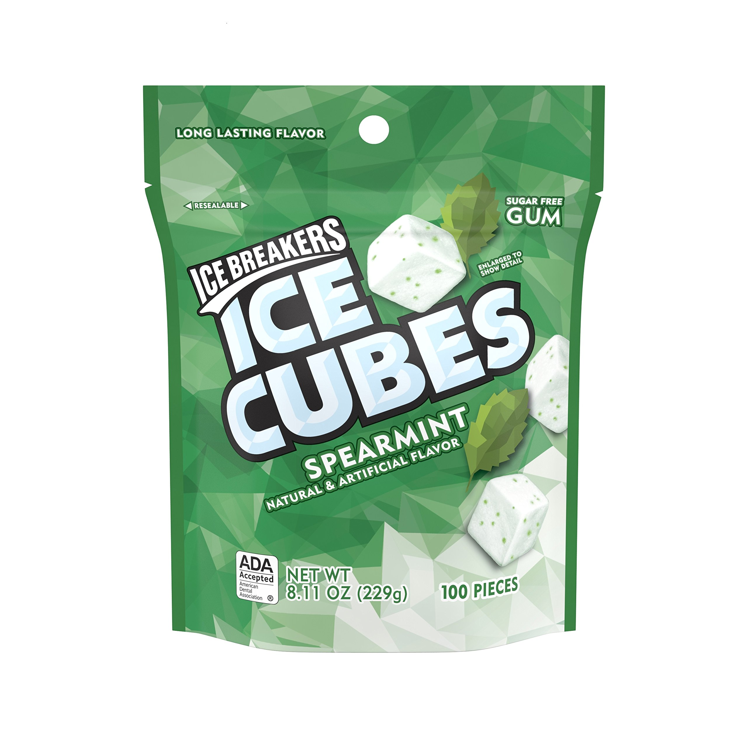 Ice Breakers Gum, Sugar Free Ice Cubes with Xylitol, Spearmint, 100 Piece Pouch by Ice Breakers