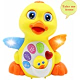Baby Toys 18 Months+ up Lovely Dancing Yellow Duck Early EQ Education ,Music and Learning ,Walking ,Singing,Flashing LED Lights, New Gifts Toys for Toddlers Boys & Girls(Button colors may vary)