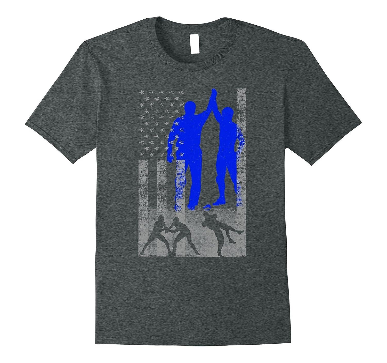 Wrestling American Flag Shirt - Blue Male Wrestler on Flag-ANZ