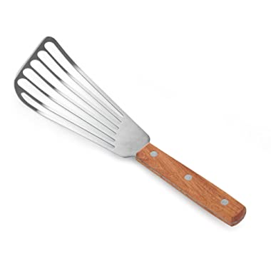 New Star Foodservice 43068 Wood Handle Fish Spatula, 6.5-Inch Blade, Silver