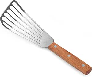 "New Star Foodservice 43068 Wood Handle Fish Spatula, 6.5"" Blade, Silver"