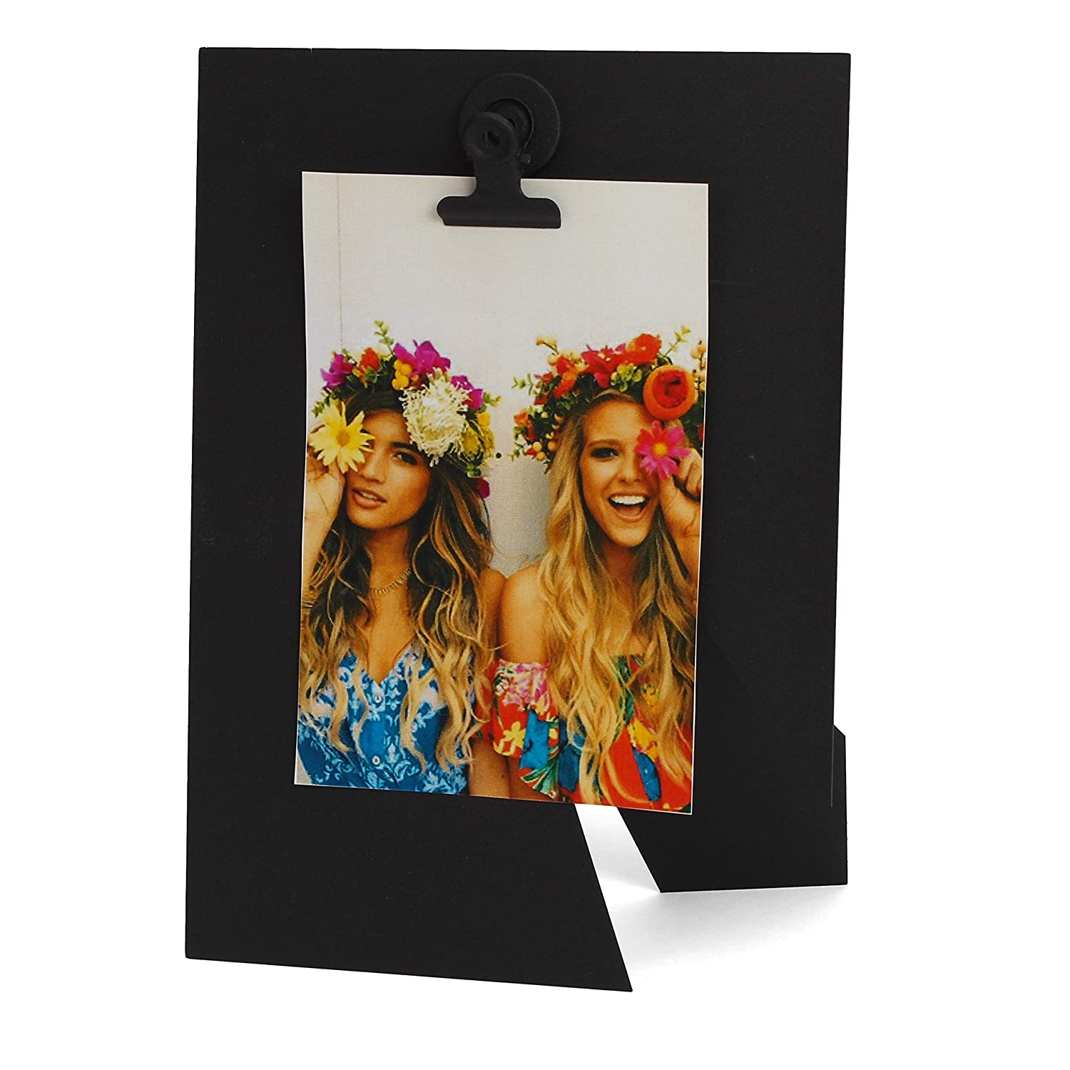Milltown Merchants™ Modern Black Picture Frame - Clip Picture Frame - Metal Picture Stand Magnetic Photo Clip - Photo Clip Holder fits 4x6 5x7 Photo - Picture Stand (1 pack)