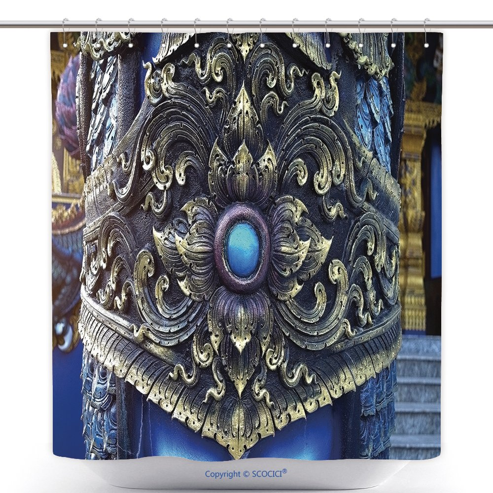 Funky Shower Curtains Traditional Thai Stucco Pattern Decorative In Buddhist Temple Chiang Rai Thailand 349086620 Polyester Bathroom Shower Curtain Set With Hooks