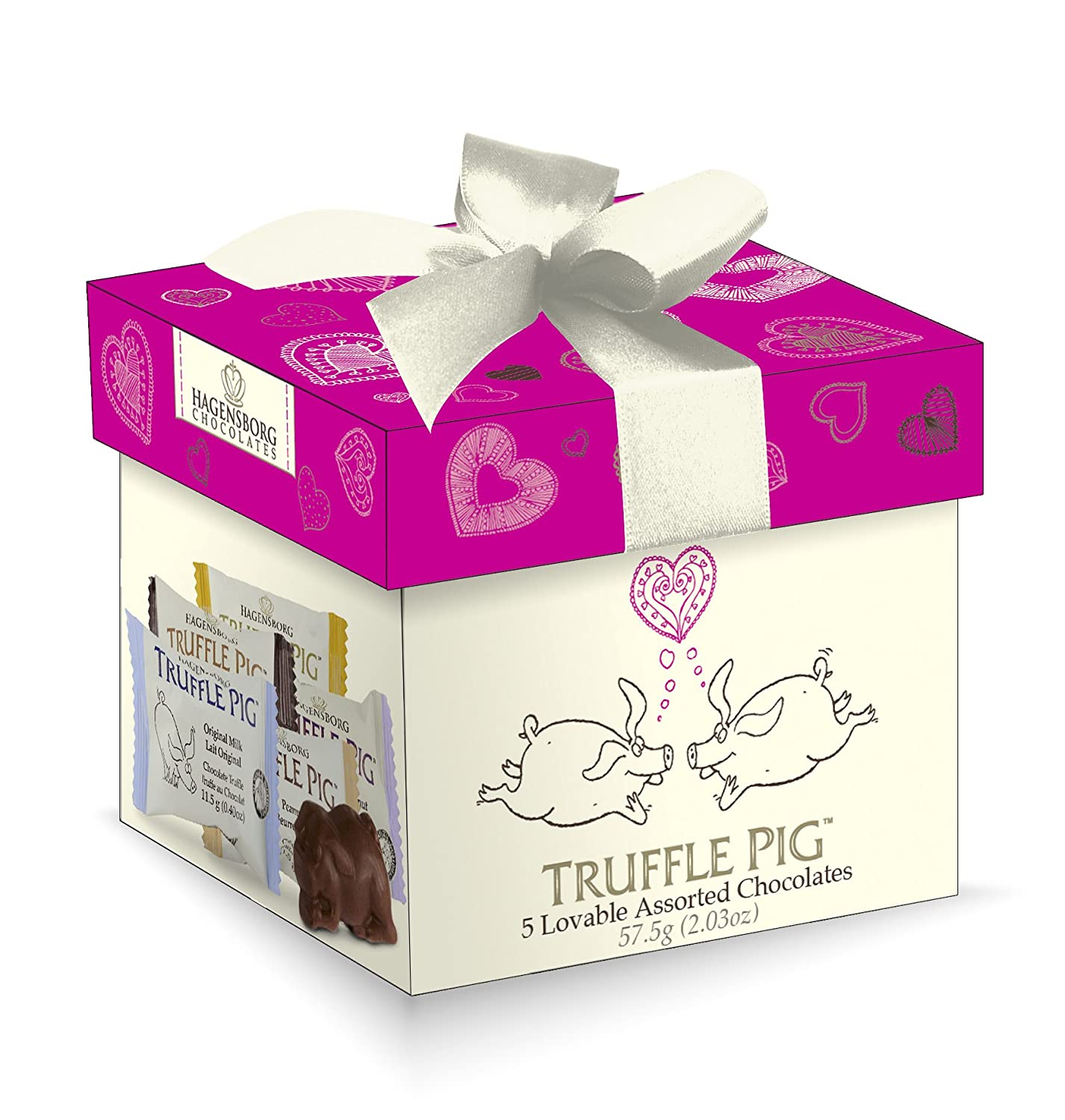 Amazon.com : Hagensborg Valentine\'s Truffle Pig Chocolate Assorted ...