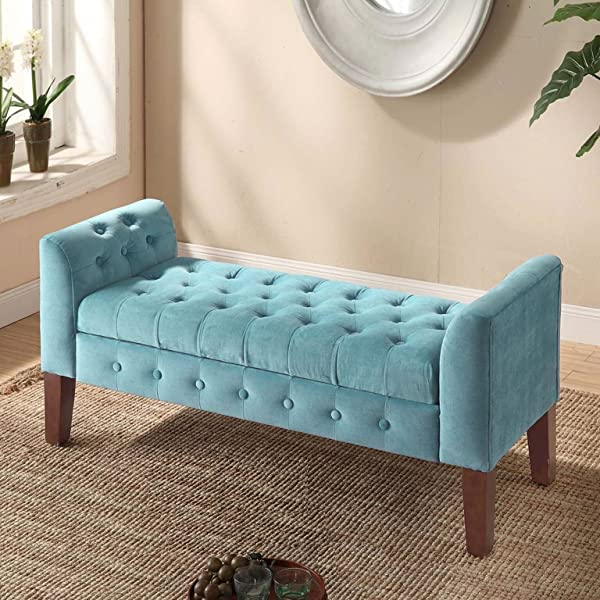 HomePop K6211-B122 Velvet Tufted Storage Bench Settee with Hinged Lid Teal
