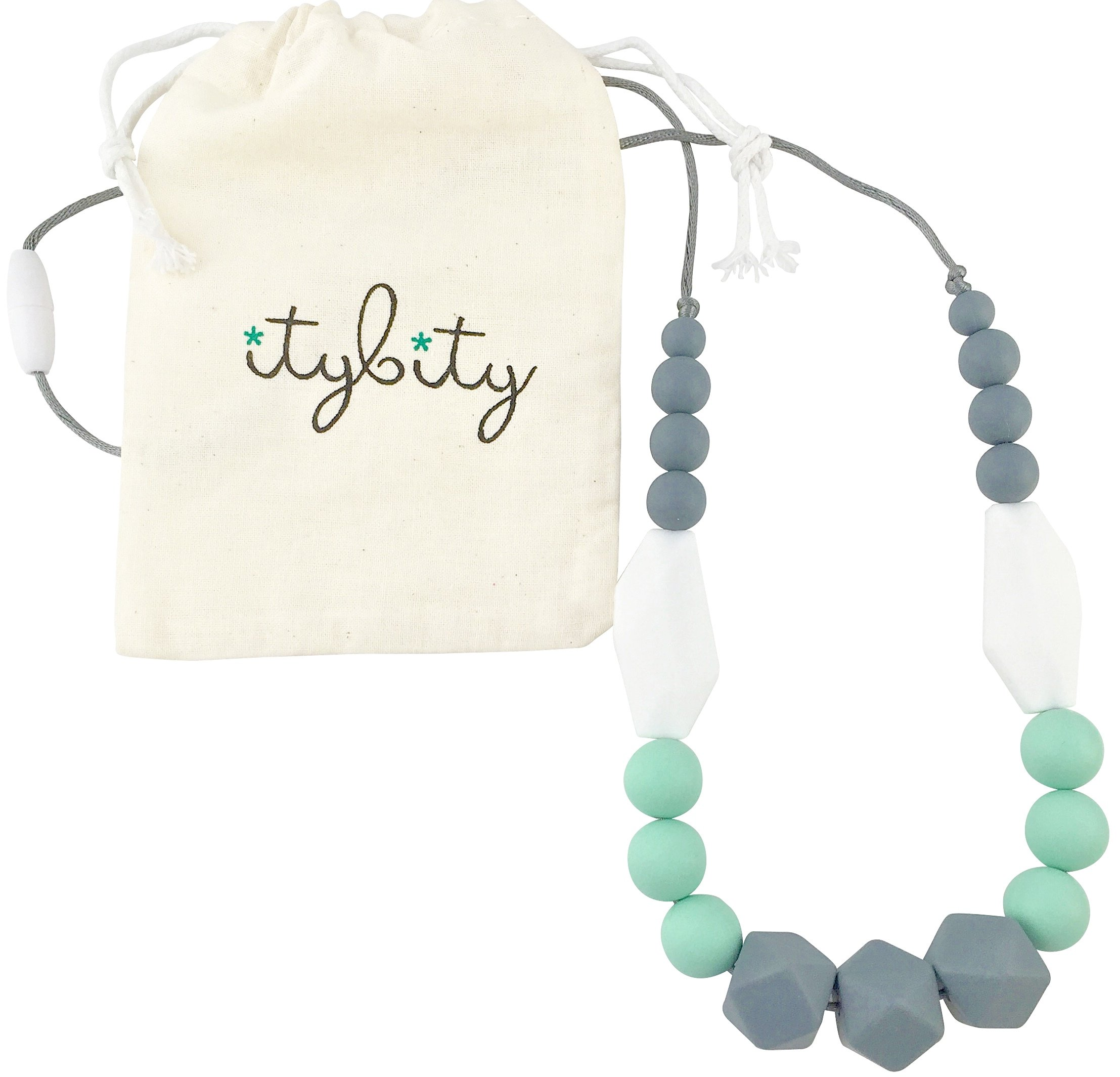 The Original Baby Teething Necklace for Mom, Silicone Teething Beads, 100% BPA Free (Gray, Mint, White, Gray) by Itybity