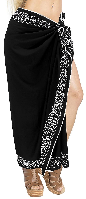 37a11a98a5 LA LEELA Women Bikini Cover up Wrap Dress Swimwear Sarong Solid 16 ONE Size  at Amazon Women s Clothing store
