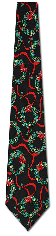 amazon com christmas wreath neck ties mens holiday necktie clothing