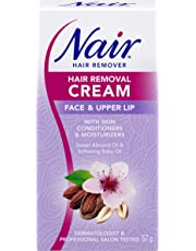 Nair Hair Removal Cream for Face & Upper Lip with Sweet Almond Oil and Baby Oil, 57-g