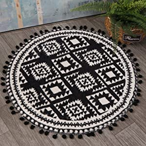 HAOCOO Round Area Rugs 2ft with Pom Pom Ball Fringe Black and Beige Soft Velvet Small Throw Rugs Non-Slip Boho Geometric Floor Carpet for Bedroom Living Room Bathroom Decor
