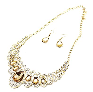 991ba397095f Vincenza Ladies Colourful Crystal Style Jewel Statement   Earring Set  Swarovski Crystal Bib Choker Collar Necklace