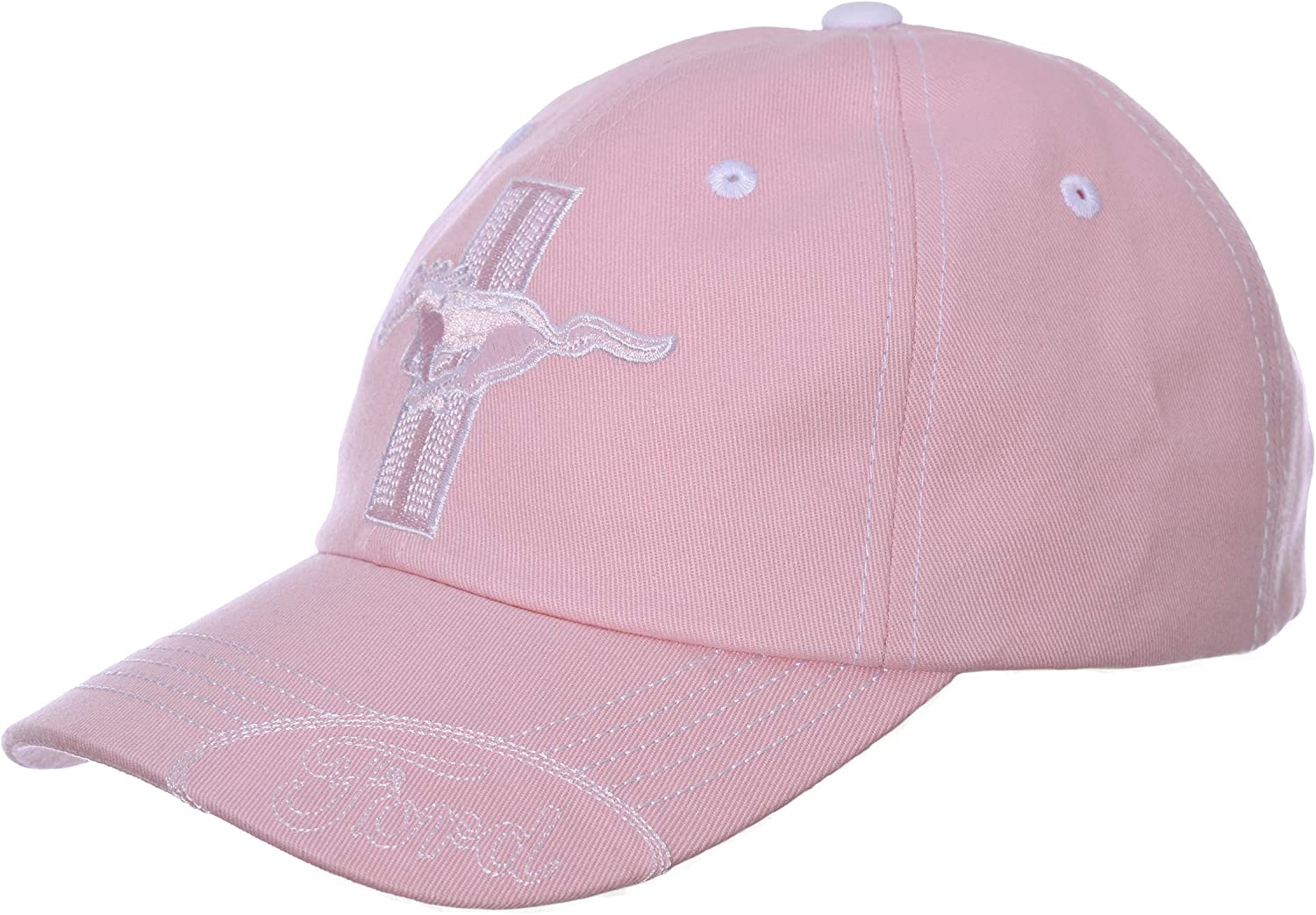 Checkered Flag Womens Ford Mustang Cap Tri-Bar Pony /& Ford Logos Pink Hat