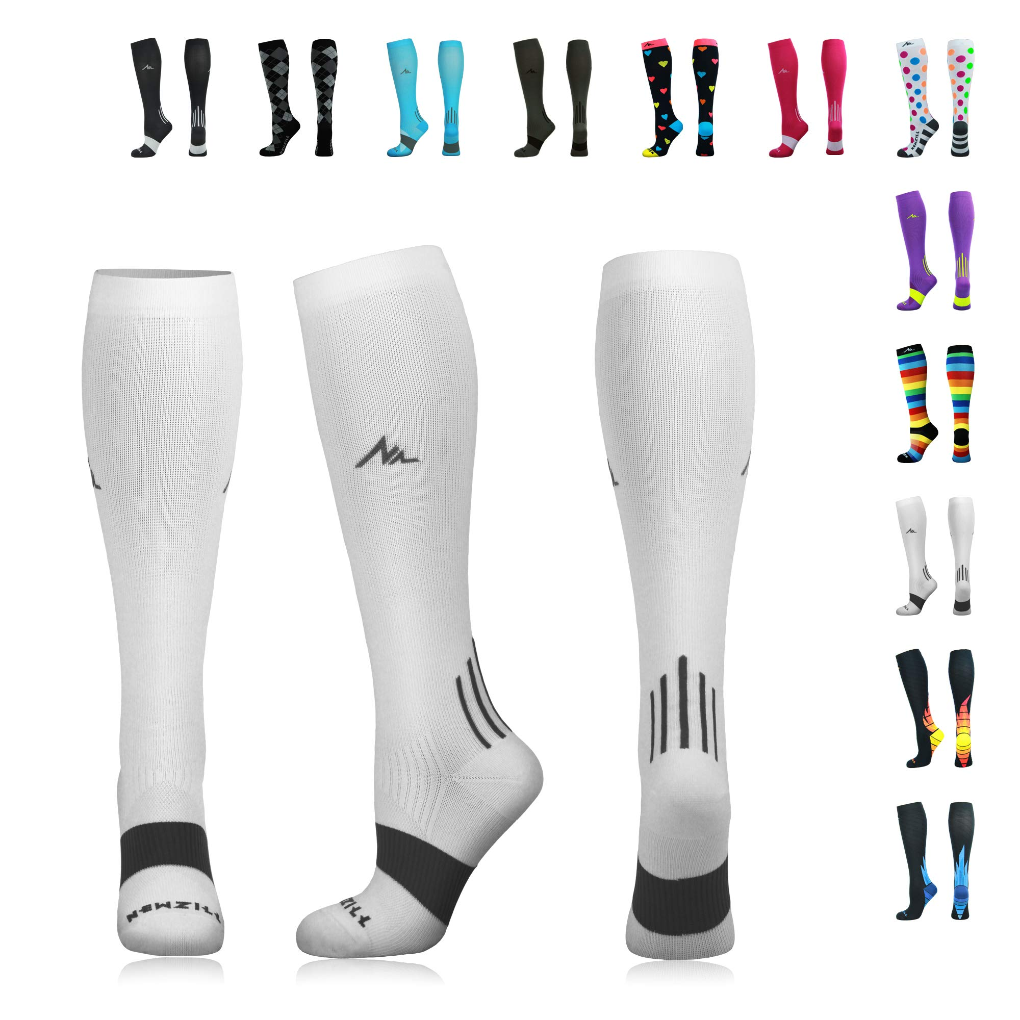 NEWZILL Compression Socks (20-30mmHg) for Men & Women - Best Stockings for Running, Medical, Athletic, Edema, Diabetic, Varicose Veins, Travel, Pregnancy, Shin Splints. White - Large (1 Pair)
