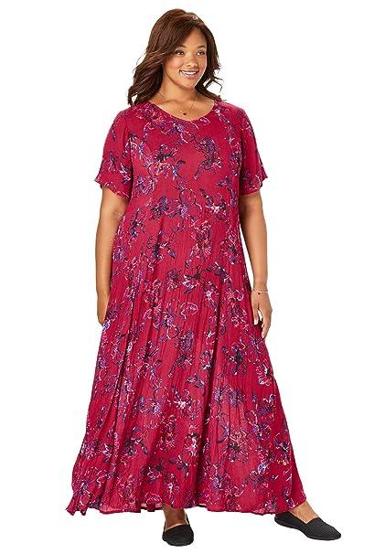 Woman Within Women\'s Plus Size Petite Crinkle Dress